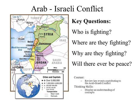 Arab - Israeli Conflict Content: –Review key events contributing to the Arab-Israeli Conflict Thinking Skills: –Display an understanding of concepts Key.