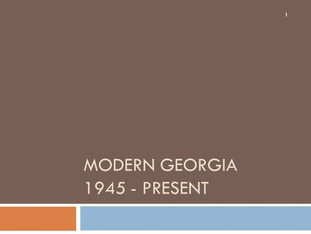 MODERN GEORGIA 1945 - PRESENT 1. Transformation of GA's Agriculture  GI Bill provided educational opportunities to veterans…men left the farm for school.