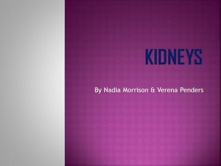 By Nadia Morrison & Verena Penders.  The subject we are going to teach you about is the kidneys. 1. Why we need them 2. How they work 3. Fun facts.