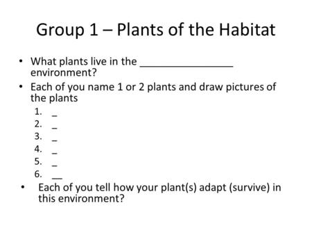 Group 1 – Plants of the Habitat What plants live in the ________________ environment? Each of you name 1 or 2 plants and draw pictures of the plants 1._.