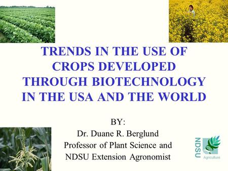 NDSU Agriculture TRENDS IN THE USE OF CROPS DEVELOPED THROUGH BIOTECHNOLOGY IN THE USA AND THE WORLD BY: Dr. Duane R. Berglund Professor of Plant Science.