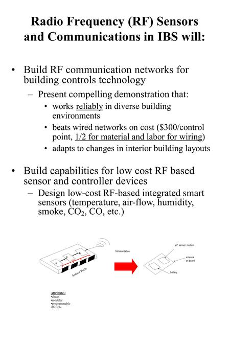 Radio Frequency (RF) Sensors and Communications in IBS will: Build RF communication networks for building controls technology –Present compelling demonstration.