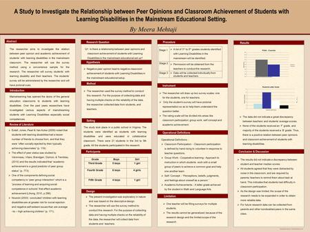 "Template provided by: ""posters4research.com"" A Study to Investigate the Relationship between Peer Opinions and Classroom Achievement of Students with Learning."