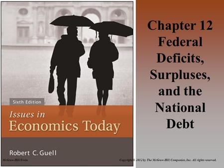 McGraw-Hill/Irwin Copyright © 2012 by The McGraw-Hill Companies, Inc. All rights reserved. Chapter 12 Federal Deficits, Surpluses, and the National Debt.