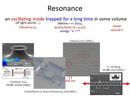 420 nm [ Notomi et al. (2005). ] Resonance an oscillating mode trapped for a long time in some volume (of light, sound, …) frequency  0 lifetime  >>