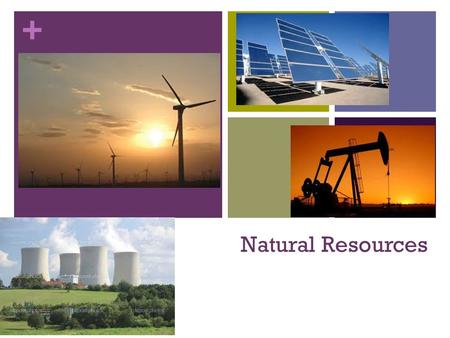 + Natural Resources. + The Earth has natural resources that are LIMITED The two types of natural resources are renewable and nonrenewable Modern living.