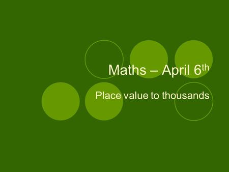 Maths – April 6 th Place value to thousands. What is place value? ones or units tens hundreds thousands A digit's place value in a number tells you how.