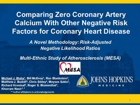 1 Comparing Zero Coronary Artery Calcium With Other Negative Risk Factors for Coronary Heart Disease A Novel Methodology: Risk-Adjusted Negative Likelihood.