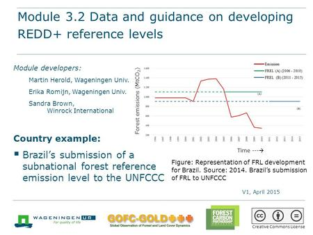 Module 3.2 Data and guidance on developing REDD+ reference levels REDD+ training materials by GOFC-GOLD, Wageningen University, World Bank FCPF 1 Module.
