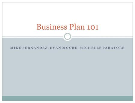 MIKE FERNANDEZ, EVAN MOORE, MICHELLE PARATORE Business Plan 101.