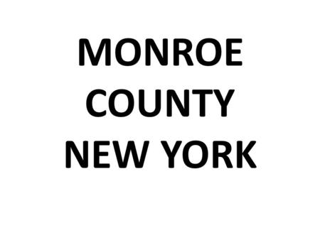 MONROE COUNTY NEW YORK. AN ENVIRONMENTAL HEALTH DIAGNOSIS by Dimitri Cerrone 3rd grade Tamarac Elementary School.