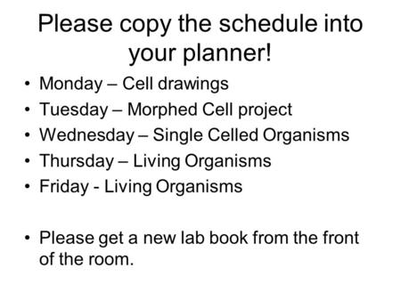 Please copy the schedule into your planner!