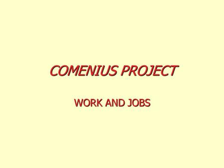 COMENIUS PROJECT WORK AND JOBS Traditionally, there have been jobs done mainly by men, and others by women BRICKLAYER.