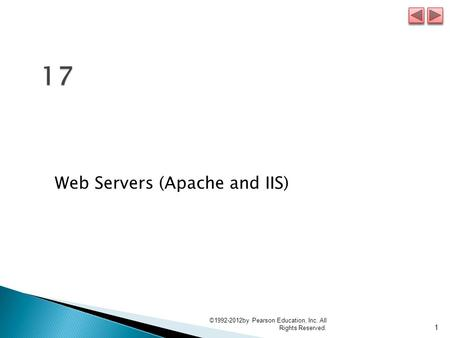 Web Servers (Apache and IIS) 1 ©1992-2012by Pearson Education, Inc. All Rights Reserved.