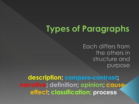 Description; compare-contrast; narrative; definition; opinion; cause- effect; classification; process.