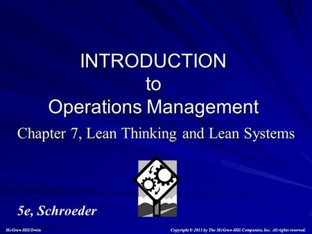 Chapter 7, Lean Thinking and Lean Systems