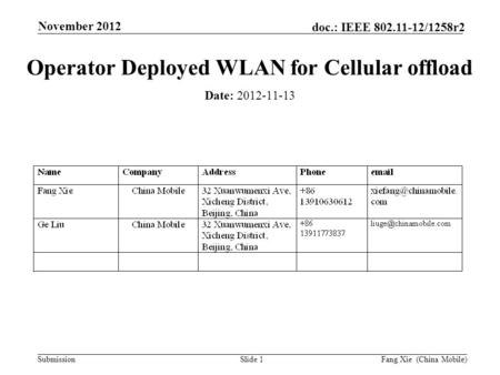 Submission doc.: IEEE 802.11-12/1258r2 November 2012 Fang Xie (China Mobile)Slide 1 Operator Deployed WLAN for Cellular offload Date: 2012-11-13.