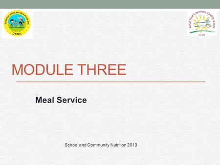 MODULE THREE Meal Service School and Community Nutrition 2013.