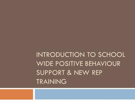 INTRODUCTION TO SCHOOL WIDE POSITIVE BEHAVIOUR SUPPORT & NEW REP TRAINING.