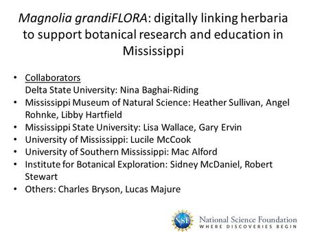 Magnolia grandiFLORA: digitally linking herbaria to support botanical research and education in Mississippi Collaborators Delta State University: Nina.