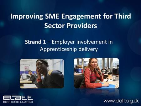 Improving SME Engagement for Third Sector Providers Strand 1 – Employer involvement in Apprenticeship delivery.