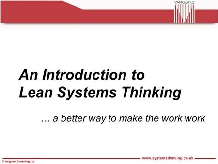 An Introduction to Lean Systems Thinking
