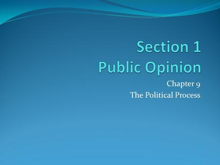 Chapter 9 The Political Process. Public opinion is the collection of views that large numbers of people hold about issues of public concern. Public opinion.