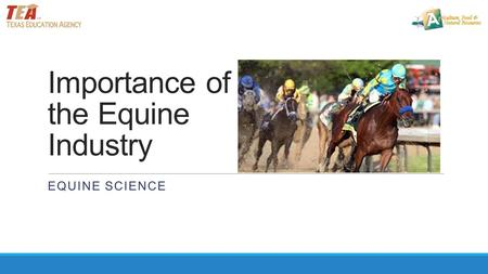 Importance of the Equine Industry EQUINE SCIENCE.
