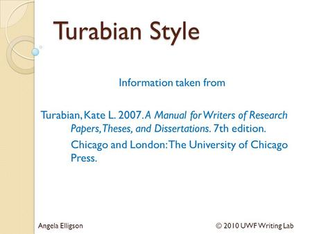 turabian style research paper format Chicago style format requires footnotes on paraphrased or quoted passages cms is divided into four parts: title page, main body, and bibliography the title page should be the first cover page of the essay, the main body follows, and the bibliography is all the citations that you used for research read more: how to format.