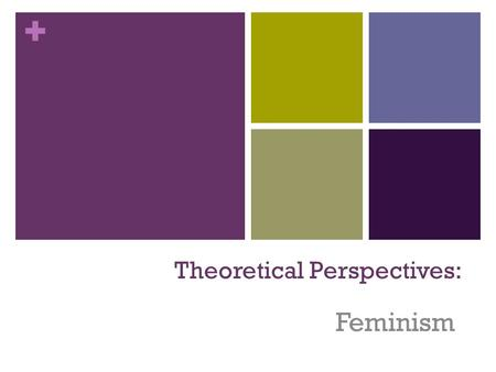 + Theoretical Perspectives: 1 Feminism + Most feminists believe that the family oppresses women and keeps men in power Feminists believe that society.