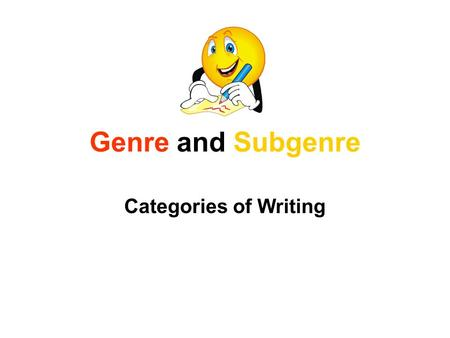 Genre and Subgenre Categories of Writing. DramaFictionPoetryFolklore Nonfiction Tragedy Comedy Realistic Fiction Fable Historical Fiction Fantasy Myth.
