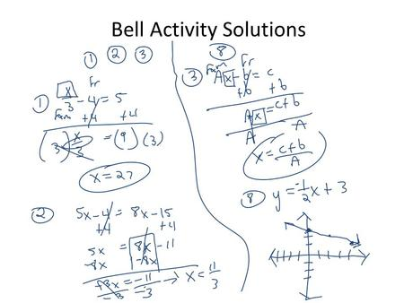 Bell Activity Solutions. What is the slope of the graph? 2/3.