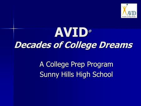 AVID ® Decades of College Dreams A College Prep Program Sunny Hills High School.