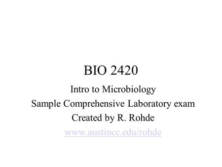 Sample Comprehensive Laboratory exam
