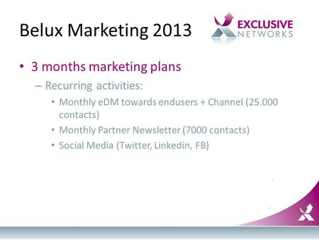 Belux Marketing 2013 3 months marketing plans – Recurring activities: Monthly eDM towards endusers + Channel (25.000 contacts) Monthly Partner Newsletter.