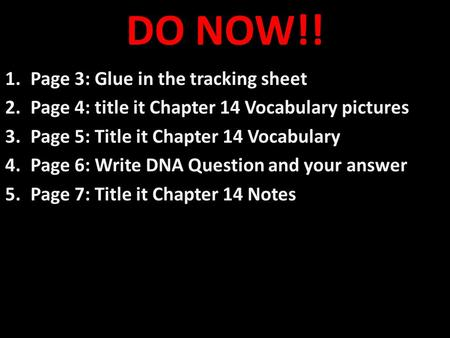 DO NOW!! Page 3: Glue in the tracking sheet