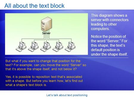 Let's talk about text positioning All about the text block This diagram shows a server with connectors leading to other computers. Notice the position.