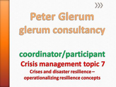 Global work packages 1.Common definitions on resilience 2.Collecting best practices 3.Establishing Resilience of: 1.Crisis management organisations 2.Critical.