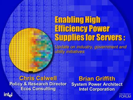 Enabling High Efficiency Power Supplies for Servers : Update on industry, government and utility initiatives Brian Griffith System Power Architect Intel.
