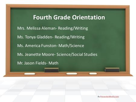 Fourth Grade Orientation Mrs. Melissa Aleman- Reading/Writing Ms. Tonya Gladden- Reading/Writing Ms. America Funston- Math/Science Ms. Jeanette Moore-