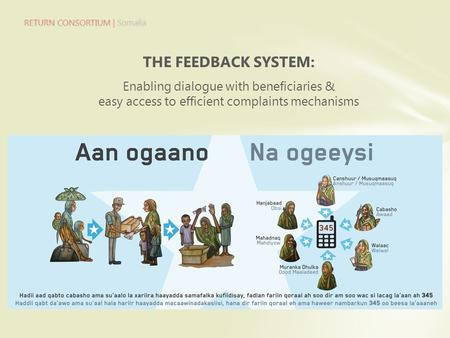 THE FEEDBACK SYSTEM: Enabling dialogue with beneficiaries & easy access to efficient complaints mechanisms.
