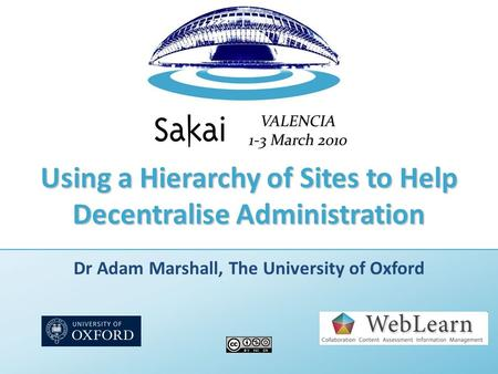 Using a Hierarchy of Sites to Help Decentralise Administration Dr Adam Marshall, The University of Oxford.