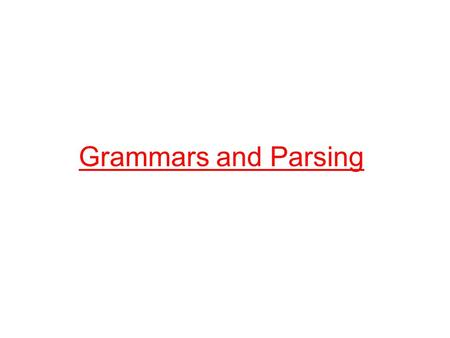 Grammars and Parsing. Sentence  Noun Verb Noun Noun  boys Noun  girls Noun  dogs Verb  like Verb  see Grammars Grammar: set of rules for generating.