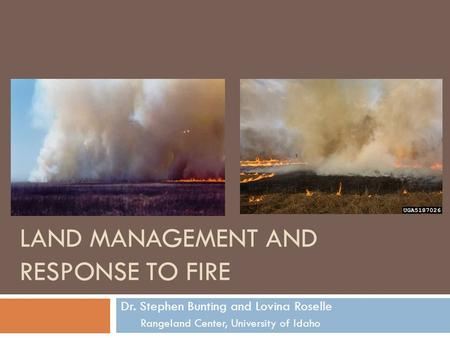 LAND MANAGEMENT AND RESPONSE TO FIRE Dr. Stephen Bunting and Lovina Roselle Rangeland Center, University of Idaho.