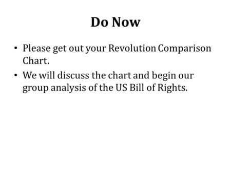 Do Now Please get out your Revolution Comparison Chart. We will discuss the chart and begin our group analysis of the US Bill of Rights.