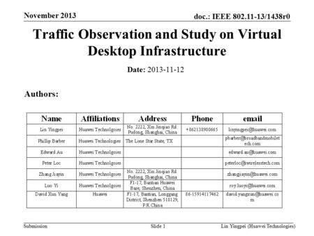 Lin Yingpei (Huawei Technologies) doc.: IEEE 802.11-13/1438r0 Submission November 2013 Slide 1 Traffic Observation and Study on Virtual Desktop Infrastructure.