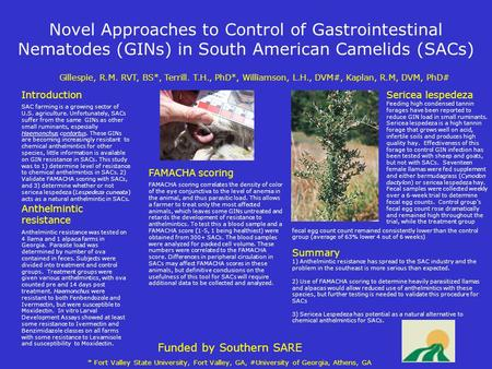 Novel Approaches to Control of Gastrointestinal Nematodes (GINs) in South American Camelids (SACs) Gillespie, R.M. RVT, BS*, Terrill. T.H., PhD*, Williamson,