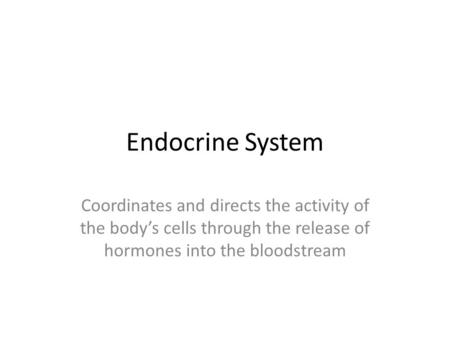 Endocrine System Coordinates and directs the activity of the body's cells through the release of hormones into the bloodstream.