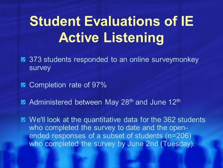 Student Evaluations of IE Active Listening 373 students responded to an online surveymonkey survey Completion rate of 97% Administered between May 28 th.