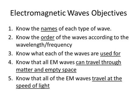 Electromagnetic Waves Objectives